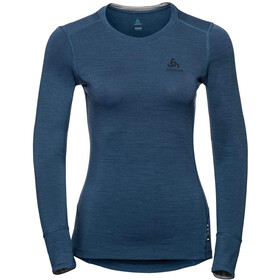 Odlo Suw Natural T-shirt manches longues à col ras-du-cou Femme, blue wing teal/grey melange